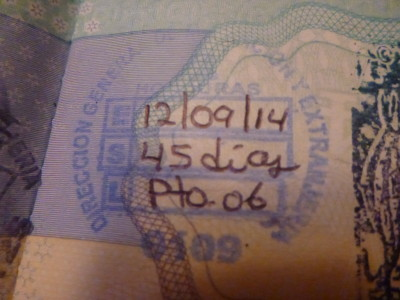 My arrival stamp into Honduras at Puerto Cortes