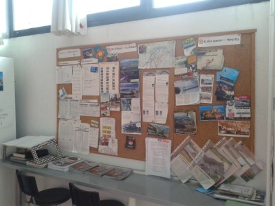 Information boards at Akelarre Hostel