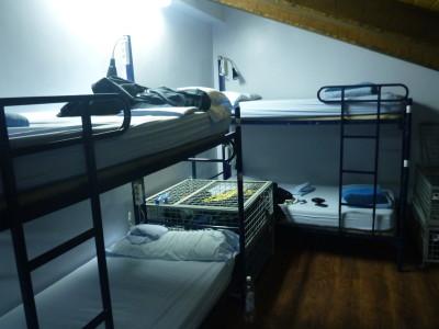 My top floor bunk dorm room at Cat's Hostel