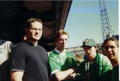 With my friends Beggsy, Bob and Mike at the Northern Ireland 1-0 Malta match at Windsor Park in September 2000