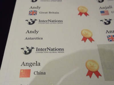Printed stickers with names of Internatons members