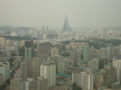 The view from the Revolving Restaurant over Pyongyang