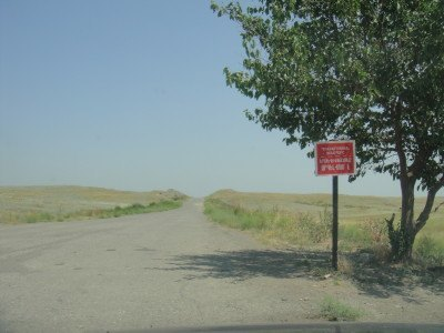 The end of the road in Nagorno Karabakh at Agdam, border to Azerbaijan