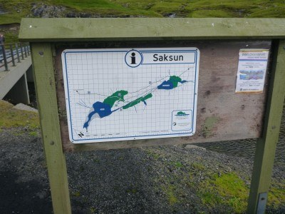 The arrival sign at Saksun