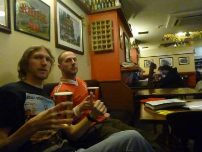 Pints in the day with Blair and Adams in the Post Office pub. Standard.