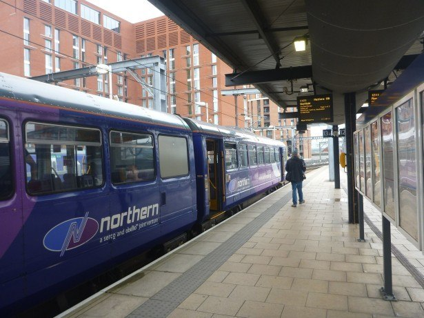 My train from Manchester to Leeds in Yorkshire
