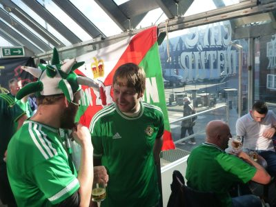 Nial and Aaron - Northern Ireland fans in Cafe Natur