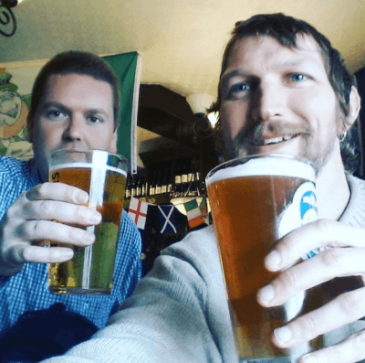 Drinking a pint with Austin in the Troubadour in St. Helier, Jersey