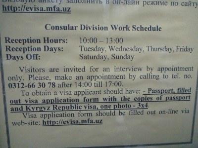 Opening hours for the Uzbekistan Embassy in Bishkek