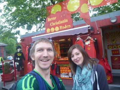 Abbi and I backpacking through Christiania