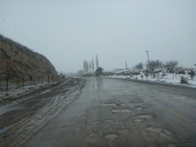 The start of the road to Khorog in Gorno Badakshan from the border.