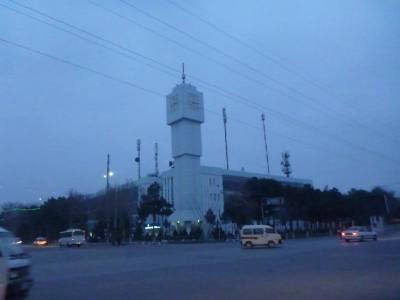 Clock tower in downtown Termiz