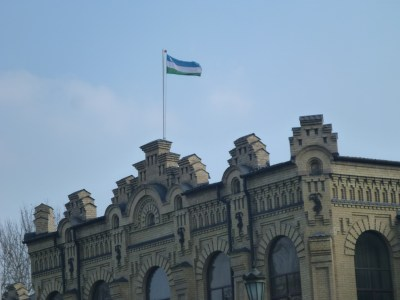Uzbek flag flying high