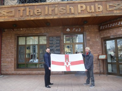Flying the Northern Ireland flag at the Irish Pub in Tashkent