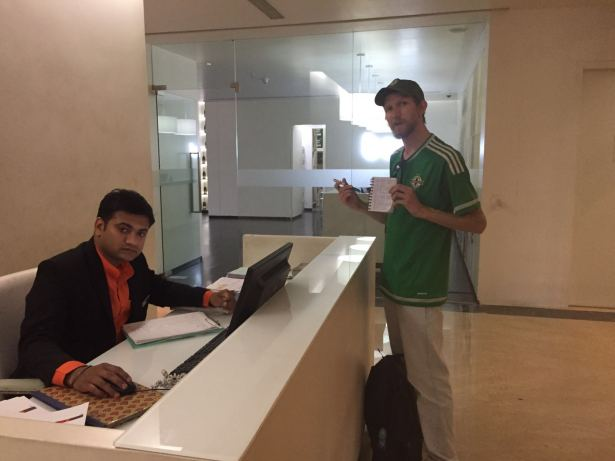 Trying to get my alcohol permit at the Marriott in Ahmedabad