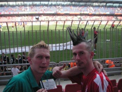 Lee and I watching Sparta Prague v Slovan Liberec in the Czech Republic
