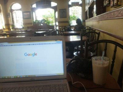 Working with a Lassi at Cafe Universal