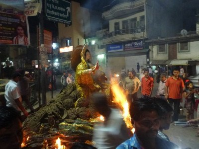 Bonfires burning in Mathura