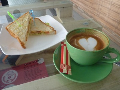 Sandwich and coffee at Cup and Cake