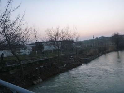 The river border between Uzbekistan and Kazakhstan