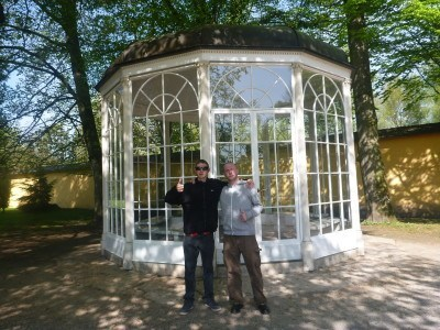 Lee and I at the Gazebo in Hellbrunn