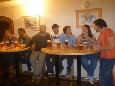 Mingling with the crowds at the backpackers bar in the YoHo Hostel