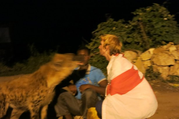 One of my crazy moments in Ethiopia- feeding hyenas hand to mouth and mouth to mouth