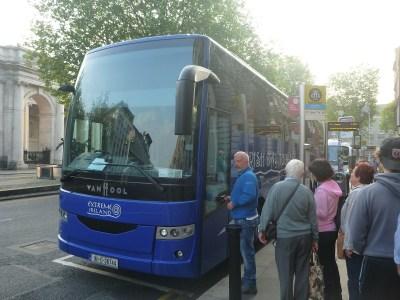 Boarding the bus in Dublin's Fair City