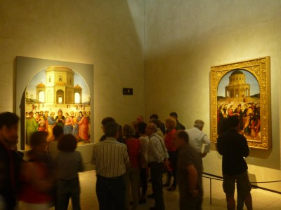 Comparing the two paintings depicting The Marriage of the Virgin by Raphael and Perugino