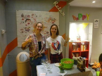 Victoria and Alina on pasta night