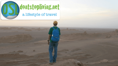 A far cry from Bangor Grammar School - backpacking at sunset in the Kaluts desert of Iran