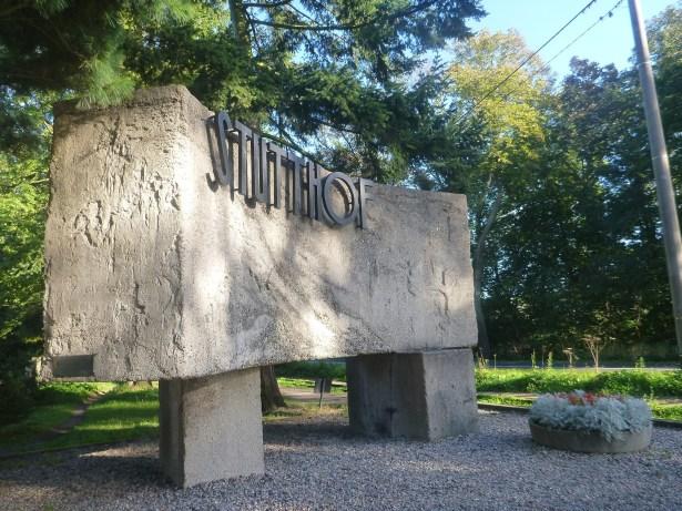 Arrival at Stutthof - the entrance sign