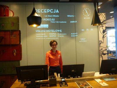 Magda on reception at Ibis Hotel Gdansk Stare Miasto.
