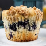 Lemon Streusel Blueberry Muffins - Muffin PERFECTION! A soft, velvety, moist muffin loaded with juicy fresh blueberries and topped with a lightly sweet crumb topping.
