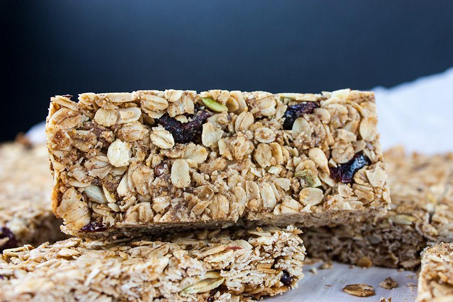 close up of sliced granola bars