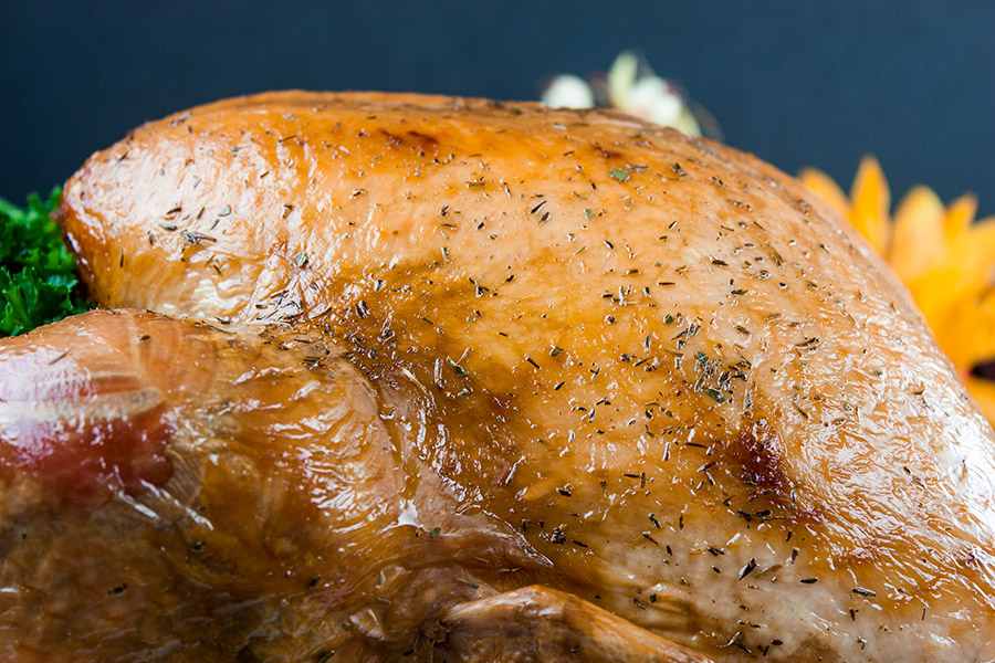 golden brown roasted turkey up close