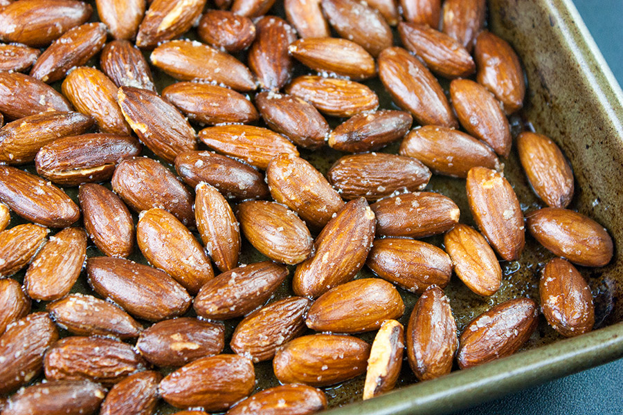 roasted salted almonds on sheet pan