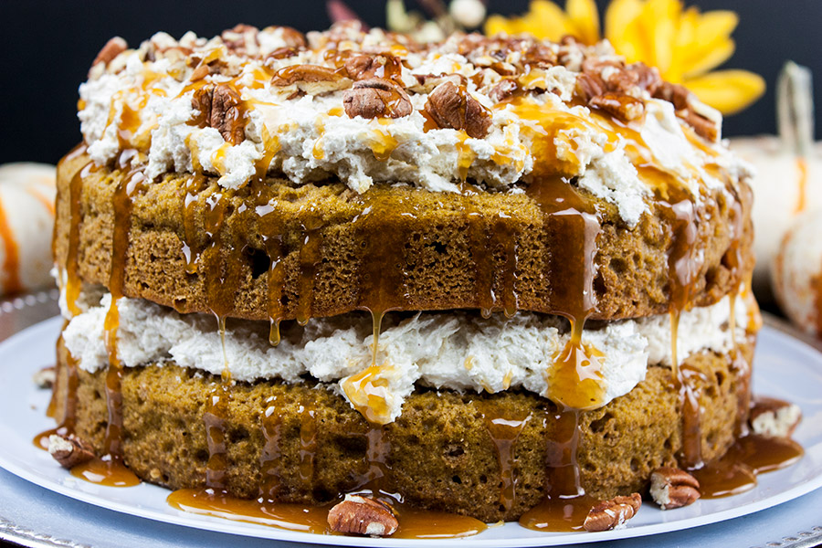 top with toasted pecans drizzle with the caramel topping
