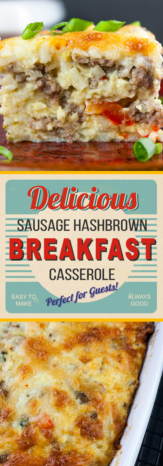 Sausage Hashbrown Breakfast Casserole - All your breakfast favorites baked in one pan! Can be made the night before and is perfect for a crowd.