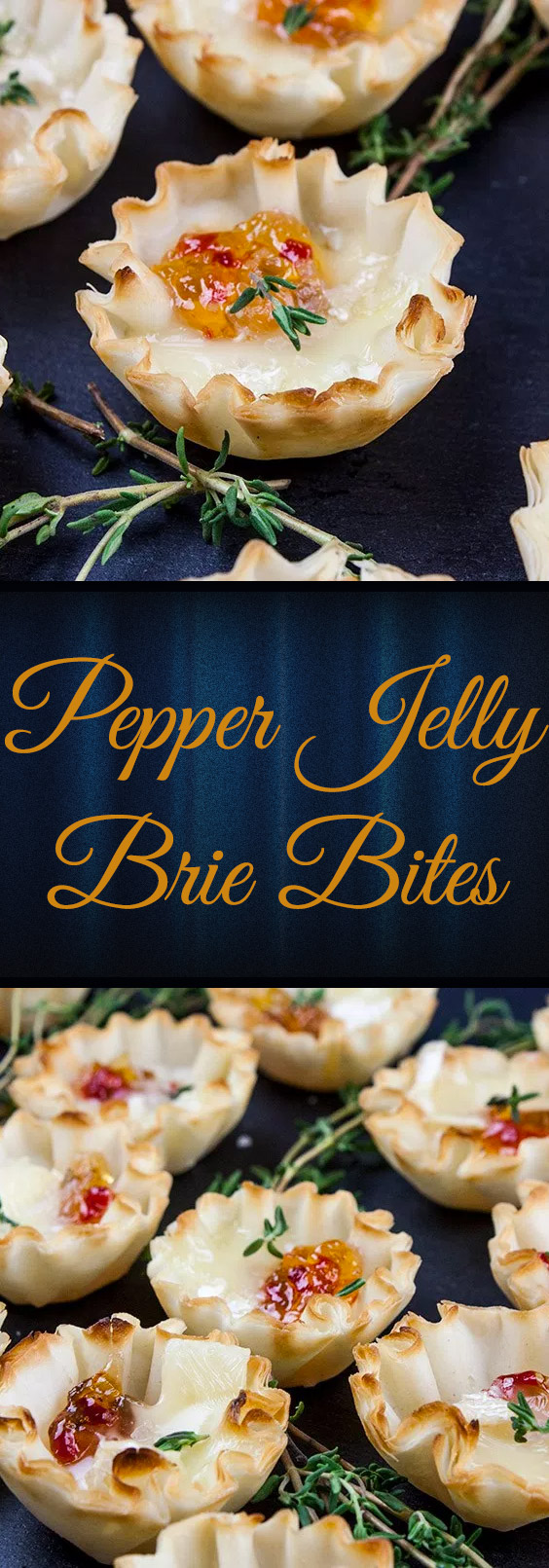 Pepper Jelly Brie Bites - Crispy phyllo shells filled with slightly spicy pepper jelly topped with creamy brie cheese. Sweet and savory bites of flaky deliciousness!