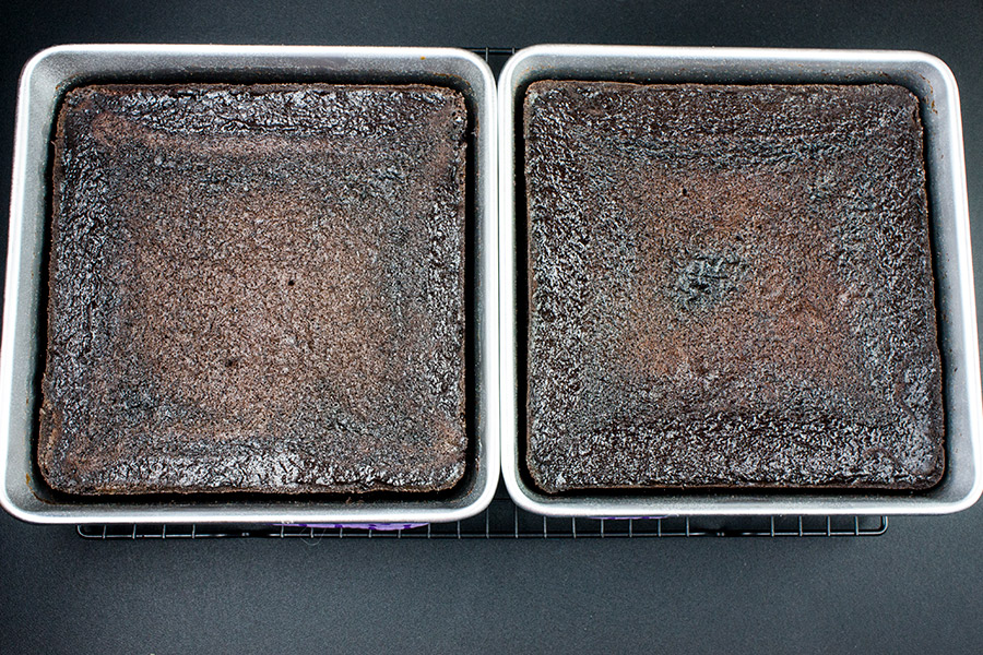 "baked dark chocolate espresso cake in two 8"" square pans"