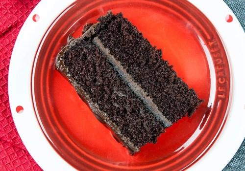 slice of dark chocolate espresso cake on red plate