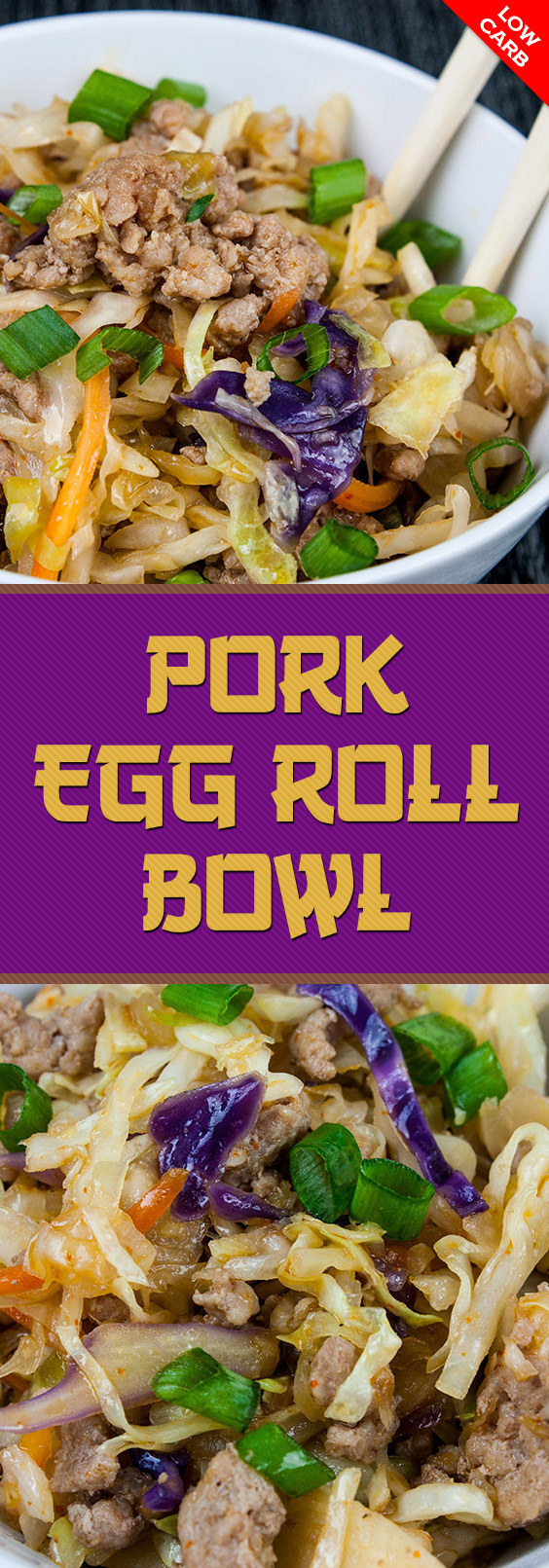"Pork Egg Roll Bowl - Same great flavor as a traditional egg roll just without the wrapper. It's also known as ""crack slaw"". Super easy to make with budget-friendly ingredients. #lowcarb #keto #dinner #recipe #healthy"