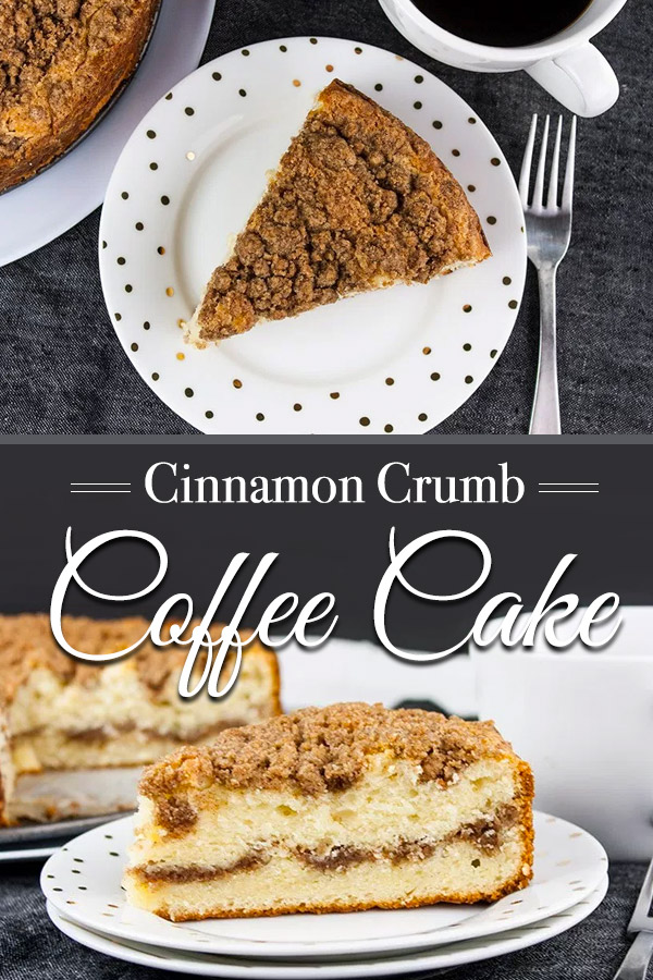 Cinnamon Crumb Coffee Cake - Moist, buttery cake ribboned with a gooey cinnamon middle and topped with a crumbly streusel. Nothing better than a thick slice of this cake with your morning or afternoon coffee. #breakfast #cake #coffee
