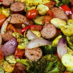 Sheet Pan Sausage and Vegetables - The epitomeof healthy one pan meal! Chop, drop, toss with seasonings and bake! It could not get any easier! Also great for meal prep.