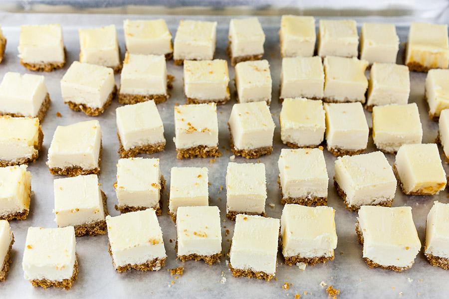 Cheesecake Bites cut into bite-size squares