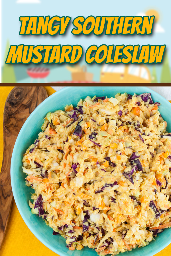 Tangy Southern Mustard Coleslaw - A complex flavor that's tangy, creamy, slightly sweet and spicy.  Which makes it perfect for pulled pork or even better...slaw dogs! #recipe #summer #grilling #sidedish
