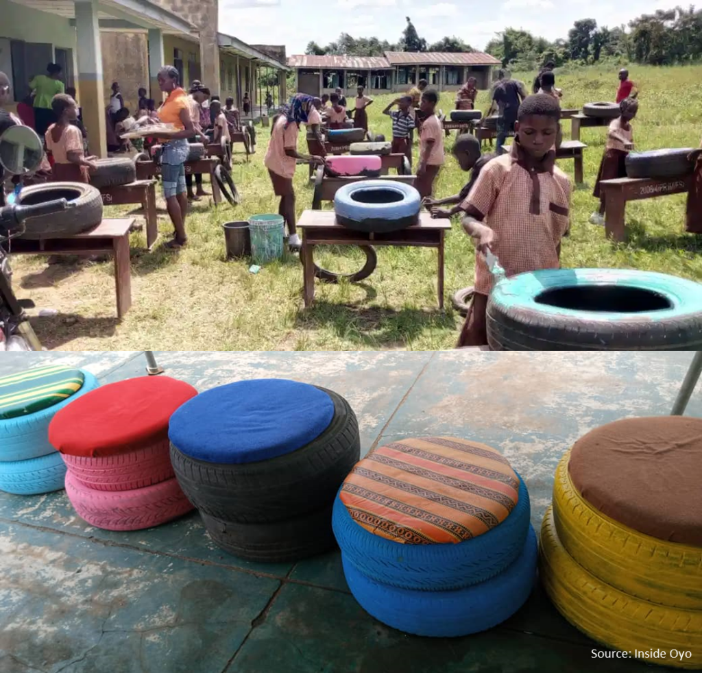 school equipment made from waste