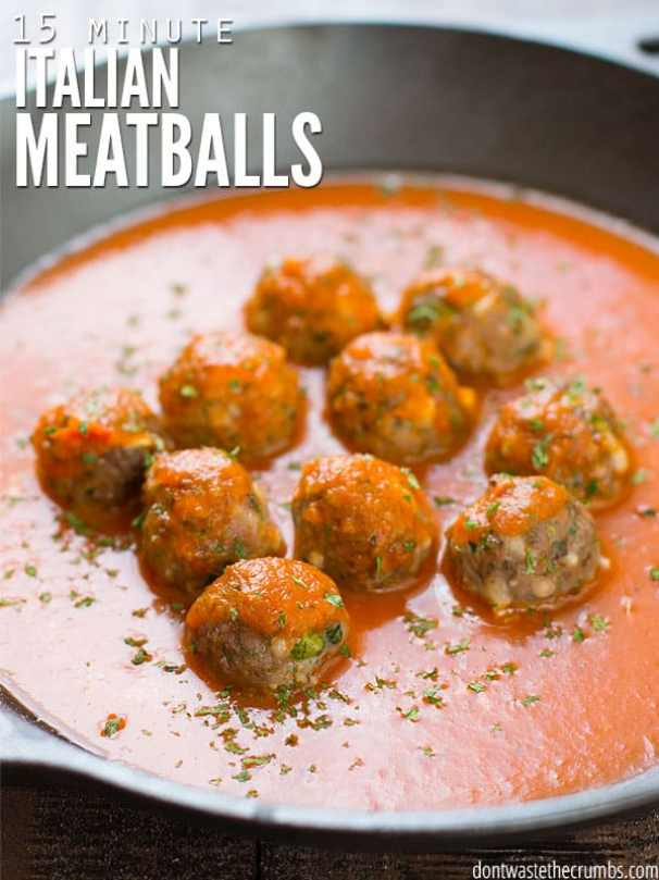 quick and easy dinner ideas, simple dinner ideas, 15 minute Italian meatballs make a super fast dinner