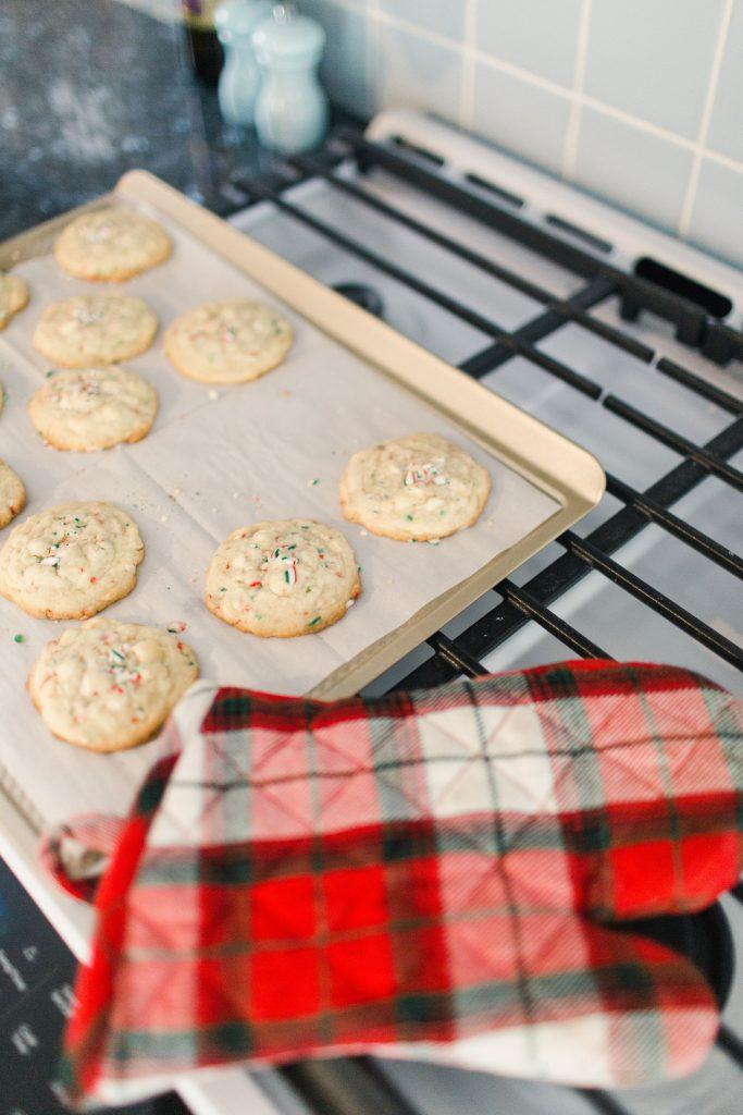 Gratitude + White Chocolate Peppermint Cookies
